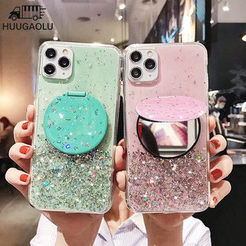 Makeup Mirror Glitter Etui Silicone Case for Huawei Nova 5T 3 3i 3e 4e 5 5i Pro 6 7 SE Phone Holder Cover Coque Funda image