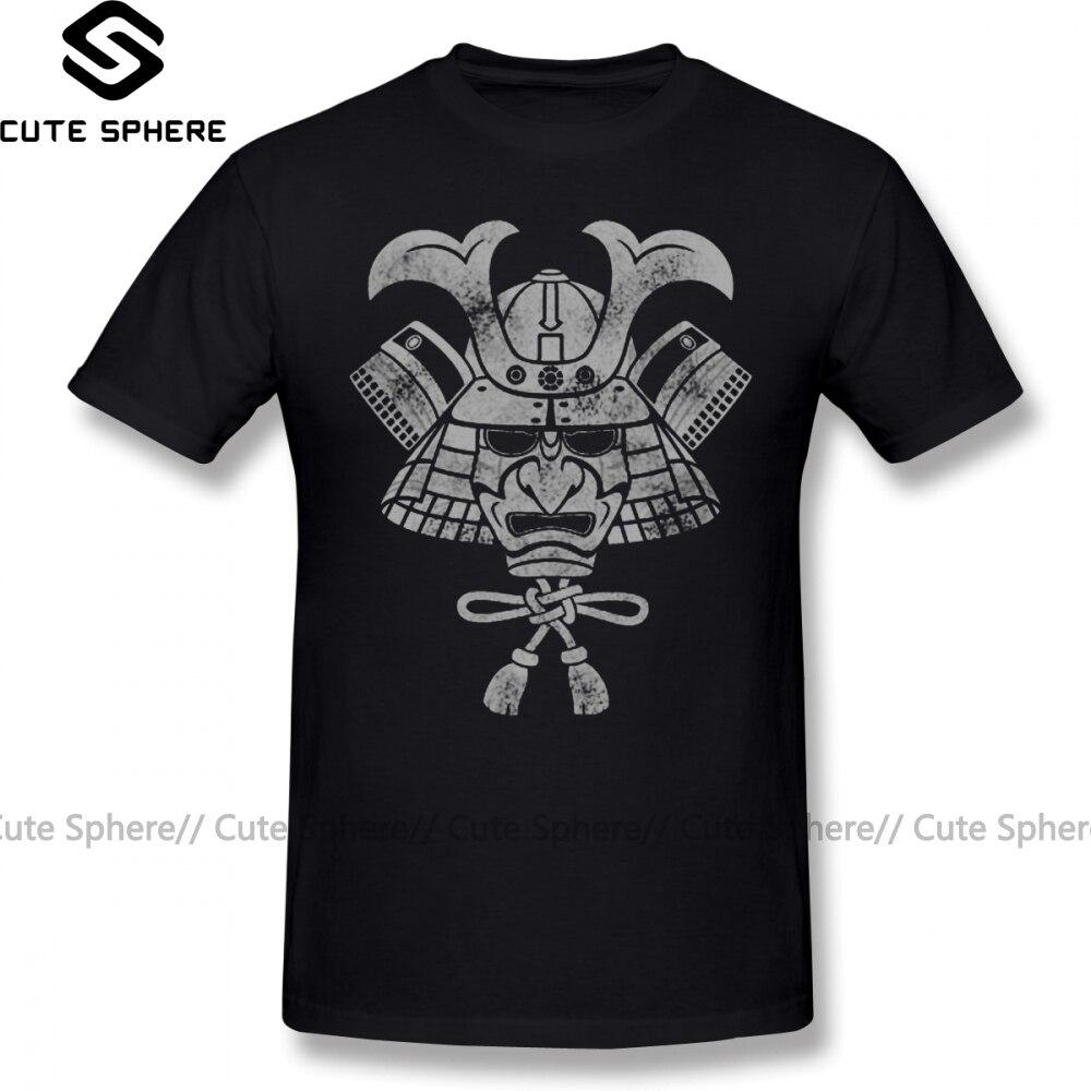 Japanese Feudal T Shirt Samurai Helmet T-Shirt Mens Cotton Tee Shirt Funny Streetwear Short Sleeves Plus Size  Graphic Tshirt