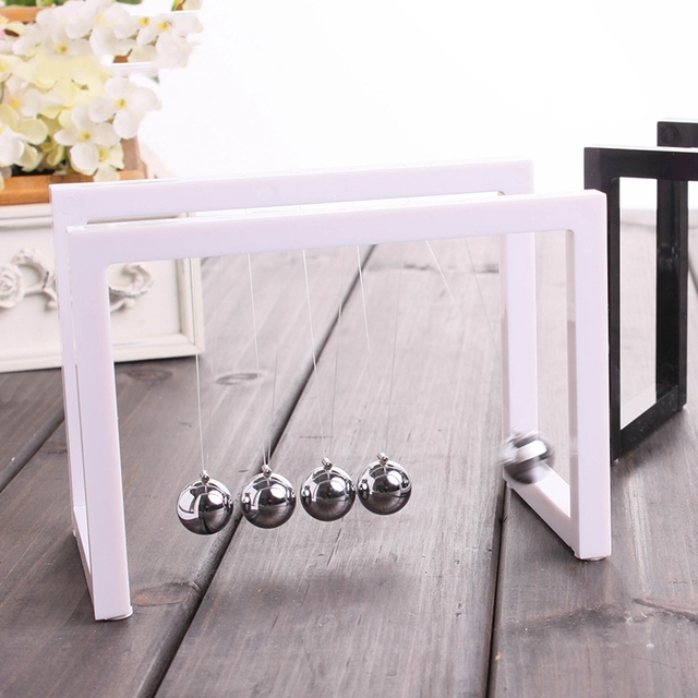 Newton Balls Cradle Balance Ball Newtons Pendulum Ornaments Home Decorations Desk Decoraction Toy Gift Black 6