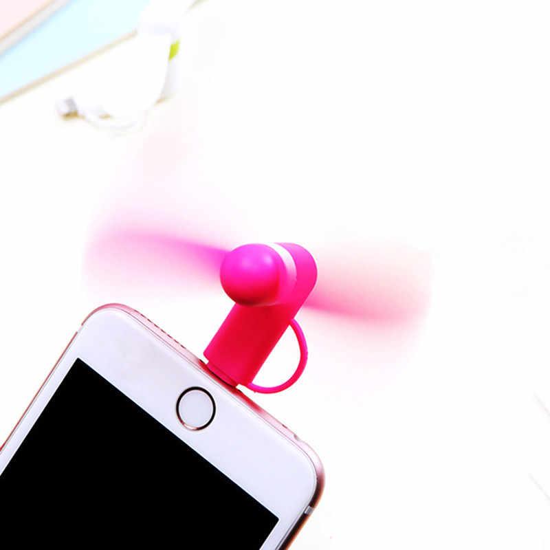 2 في 1 سفر هاتف خلوي محمول مروحة صغيرة تبريد برودة ل المصغّر usb C ل iPhone 5 6 6S 7 Plus 8 X ل أندرويد Not Type-c