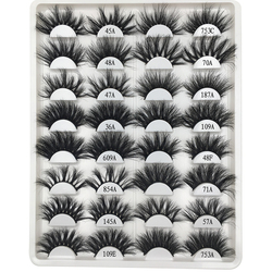 16 paare/paket mix nerz Wimpern 25mm Wimpern Großhandel Dramatische Lange 3D Nerz Wimpern Make-Up Falsche Wimpern