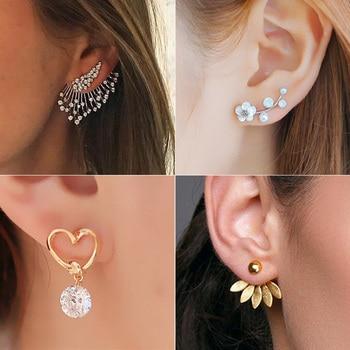 2020 New Stud Earrings for Women Crystal Flower Fashion Jewelry Gold Silver Rhinestones Earrings Gift for Party Best Friend 1