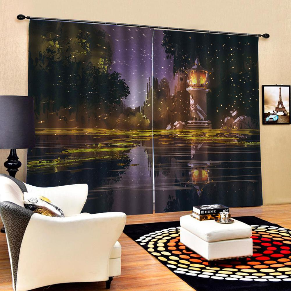 oil painting night curtains Customized size Luxury Blackout 3D Window Curtains For Living Room Decoration curtains  blackout