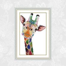 Joy Sunday Giraffe Painting Handwork Beginner Embroidery Sets Aida Canvas Cross-stitch Wholesale Needlework Home Decor