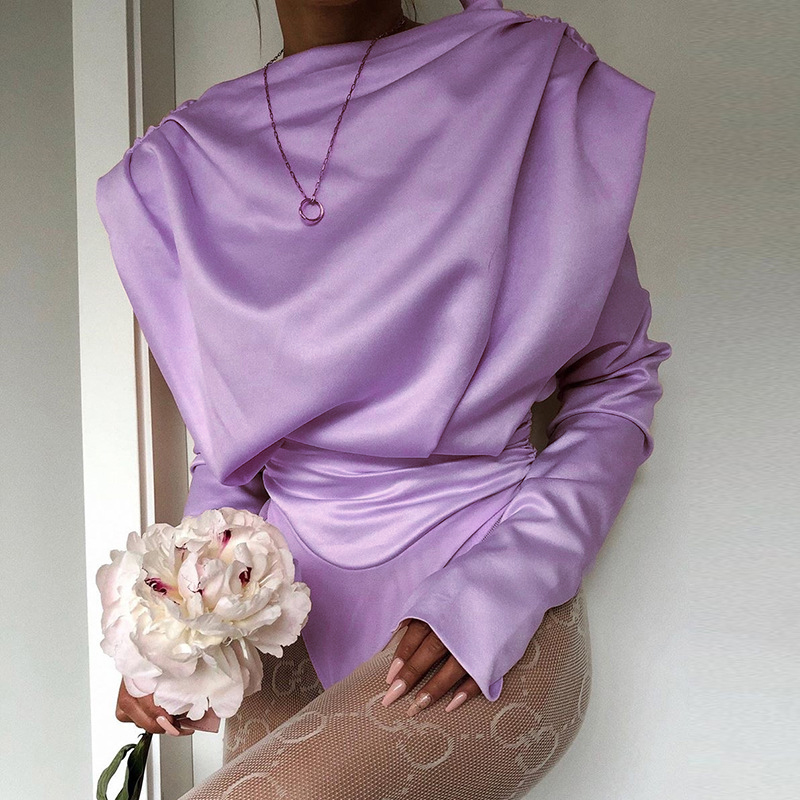 H43114bc716c6495c9b08d335768fba3as - Artsu Elegant Satin Pink Blouse Long Sleeve Bodysuits Tops Women Spring New Romper Mujer Ladies Cute Shirts ASJU60703