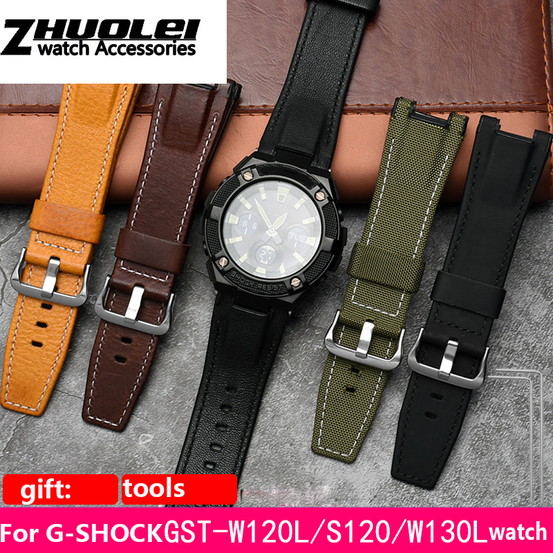 high quality watchband For Casio G-SHOCK GST210D,B110D,S100D,S110D,W110D,W300 nylon cow leather Original Notch end watch straps