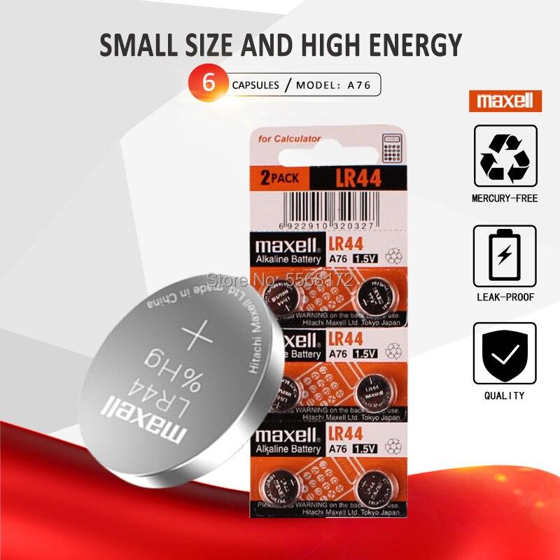 6 pces para maxell lr44 a76 ag13 0% hg sr1154 357 lr 44 1.5v bateria alcalina da pilha para a calculadora 0% hg