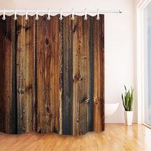 Занавески для душа с узором в виде деревянной двери деревенском