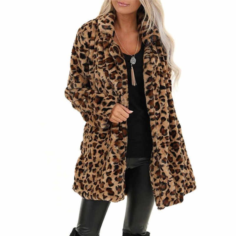 Jaycosin Women's Leopard Plush Jacket New Cardigan Fashion Women Leopard Print Long Sleeve Coats Vintage Outwear Cardigan Tops