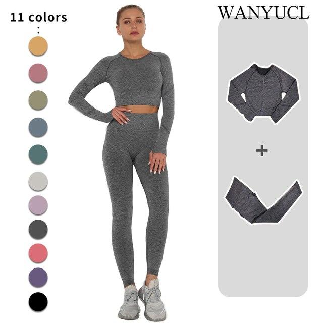 Sem costura conjunto de yoga feminino workout roupas de ginástica de fitness manga longa colheita superior cintura alta leggings + esporte sutiã ternos esportivos 1