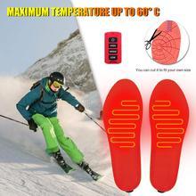 USB стельки для обуви с подогревом, светодиодный, беспроводной пульт дистанционного управления, перезаряжаемый, с подогревом, теплый коврик для зимних видов спорта, лыж, тепловая стелька