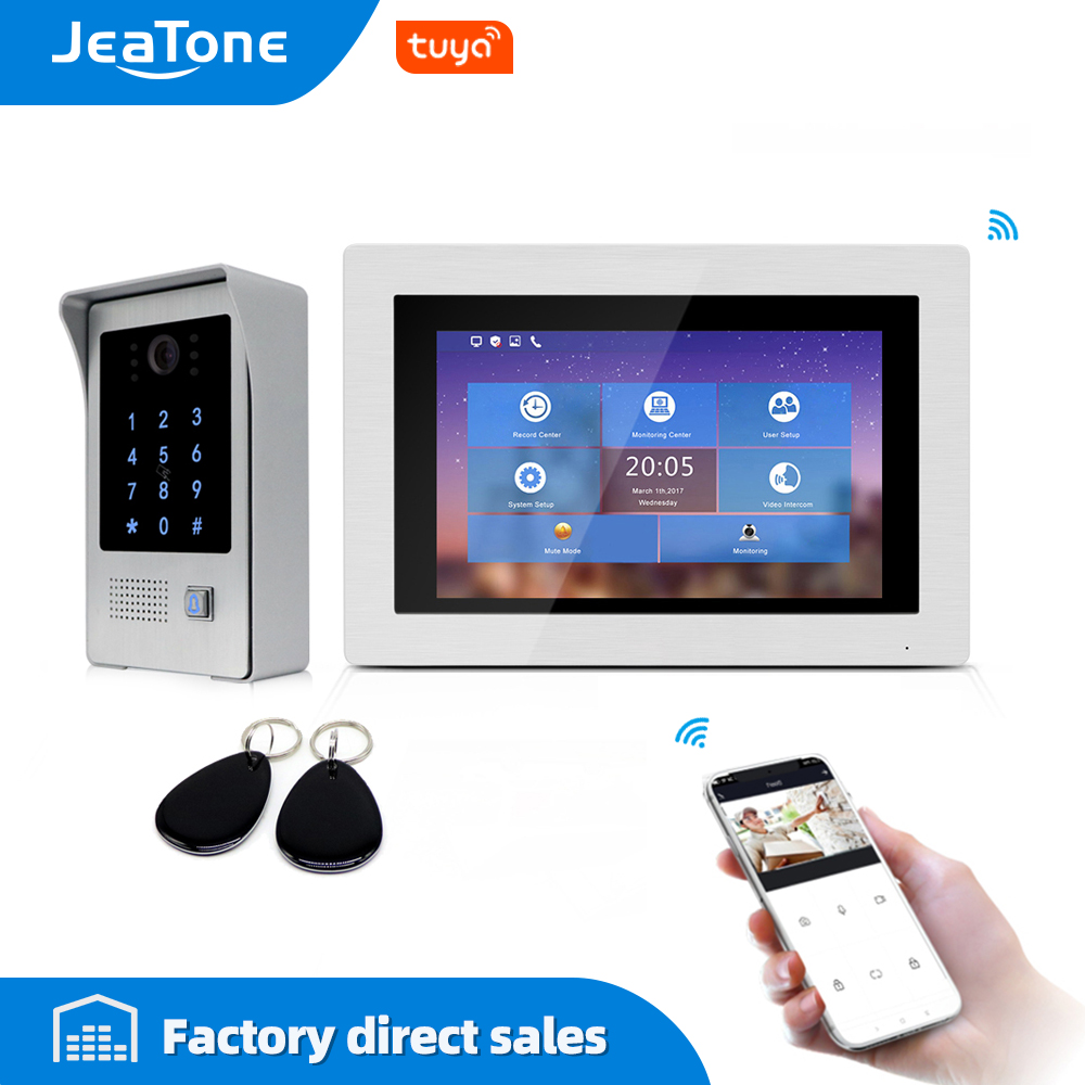 720P WiFi IP Video Door Phone Video Intercom 7'' Touch Screen Free App Remote Unlock Code Keypad RFIC Card Access Control System image