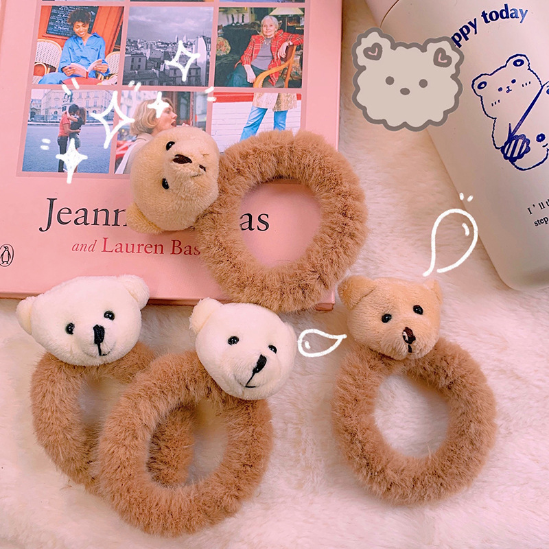 New Cute Cartoon Bear Hair Rope Rubber Band Elastic Hair Band Children Head Rope Hair Ring Women Girl Hair Accessories Ornaments