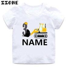 Custom Name T shirt Cartoon Excavator Birthday Number 1-9 Boys T-shirt Baby Girls Tops Funny Present Kids Clothes Gift,HKP2468