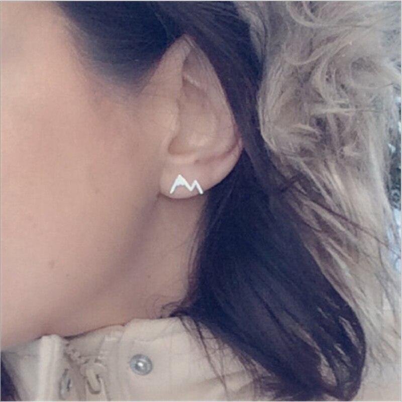 Trendy stud earrings for women,Hand design mountain Shaped small studs,silver 925 jewelry,Earlobe Ear bone piercing,fresh Gifts Pakistan