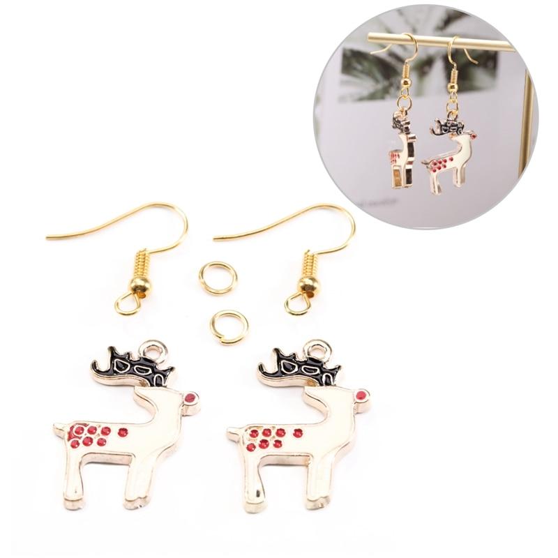 SAUVOO Christmas Jewelry Earrings Making Kits Santa Claus Xmas Socks Tree Bell Deer Women Earring Findings DIY Material Sets