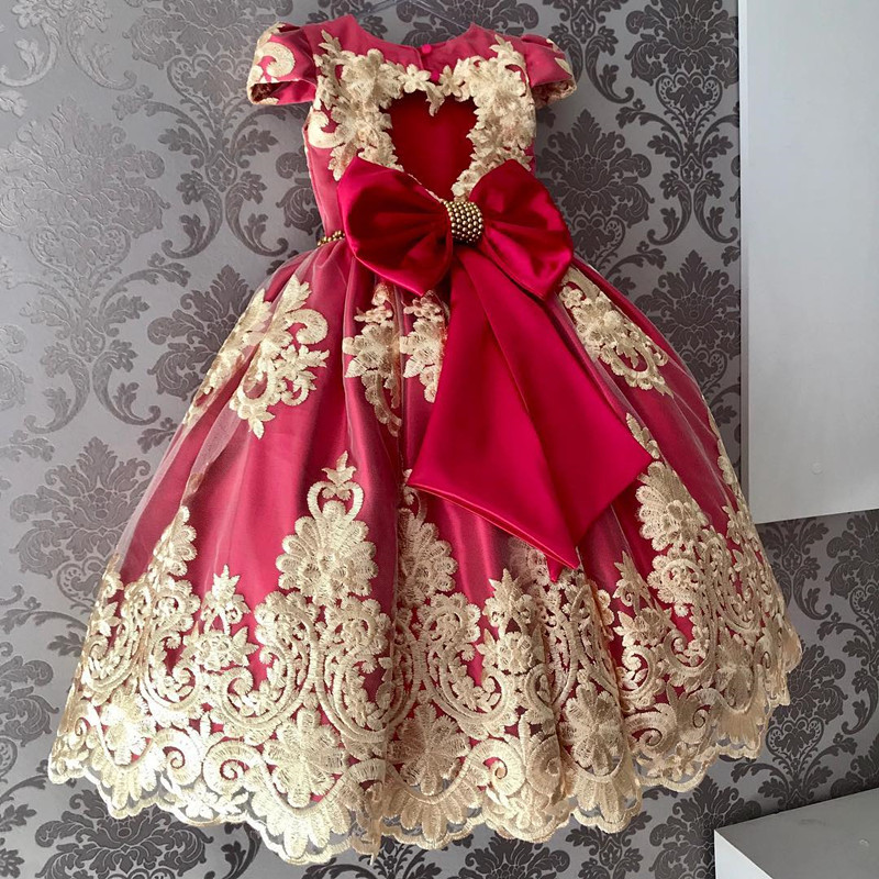 H4311e8b70a564acaa338b6a5c2736756y Girls Princess Kids Dresses for Girls Tutu Lace Flower Embroidered Ball Gown Baby Girls Clothes Children Wedding Party Dress