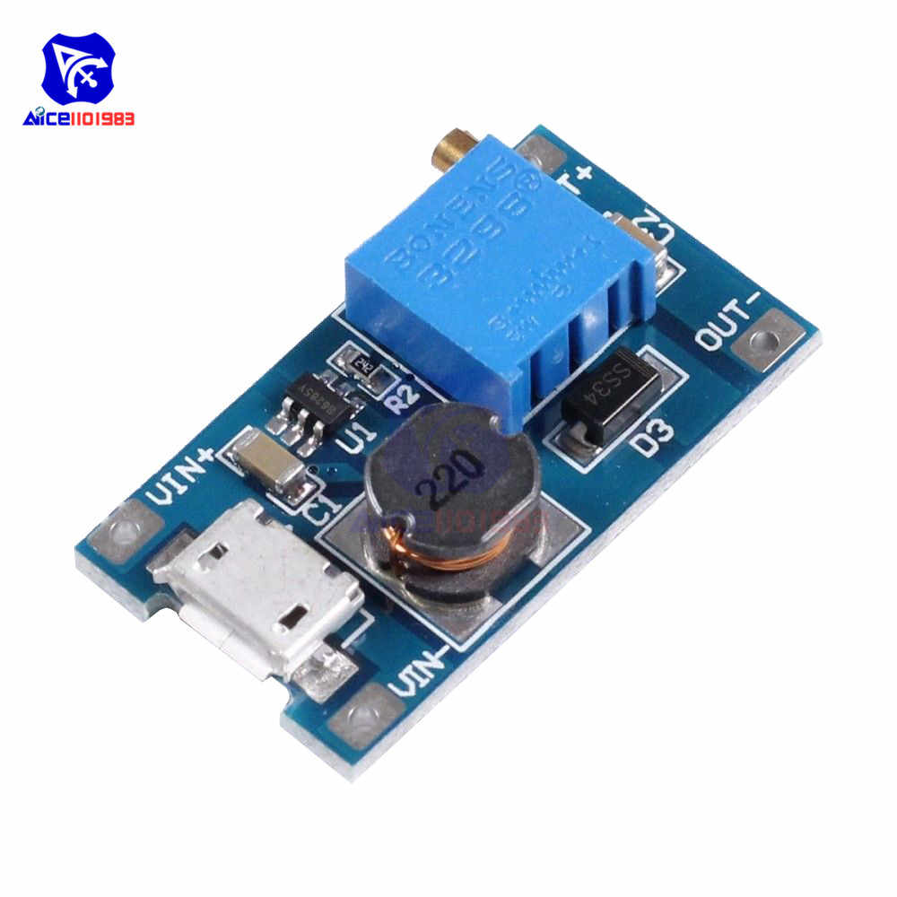 MT3608 DC-DC 2-24V a 5-28V 6V 12V 24V 2A Boost Step up Converter Module con Interfaccia Micro USB Regolabile 3296 Potenziometro
