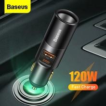 "Baseus 120W USB C רכב מטען תשלום מהיר 4.0 QC 3.0 רכב מצית מטען פ""ד מהיר טעינה עבור xiaomi סמסונג Huawei"