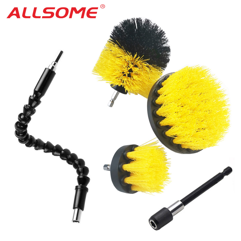 ALLSOME 5pcs/set Drill Power Scrub Clean Brush For Leather Plastic Wooden Furniture Car Interiors Cleaning Power Scrub HT2817