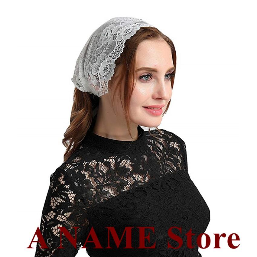 ISHSY Lace Small Women Headband Mantilla Veils For Church Catholic Traditonal Headcovering Velo Negra Voile Mantille Tie-Style