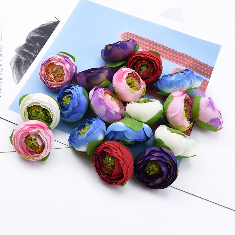 5pcs 4CM  Silk Tea Roses Artificial Flowers For Christmas Wreath Home Wedding Decor Bridal Accessories Clearance A Cap Diy Gifts