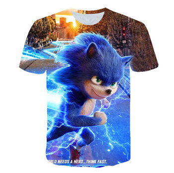 Summer 2020 new men's short sleeve T-shirt sonic hedgehog Harajuku casual children's wear size 3d t-shirt free shipping image