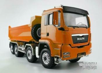 LESU 8*8 Front Hydraulic Lifting Dumper Truck 1/14 RC DIY MAN Model Painted Orange ESC THZH0485