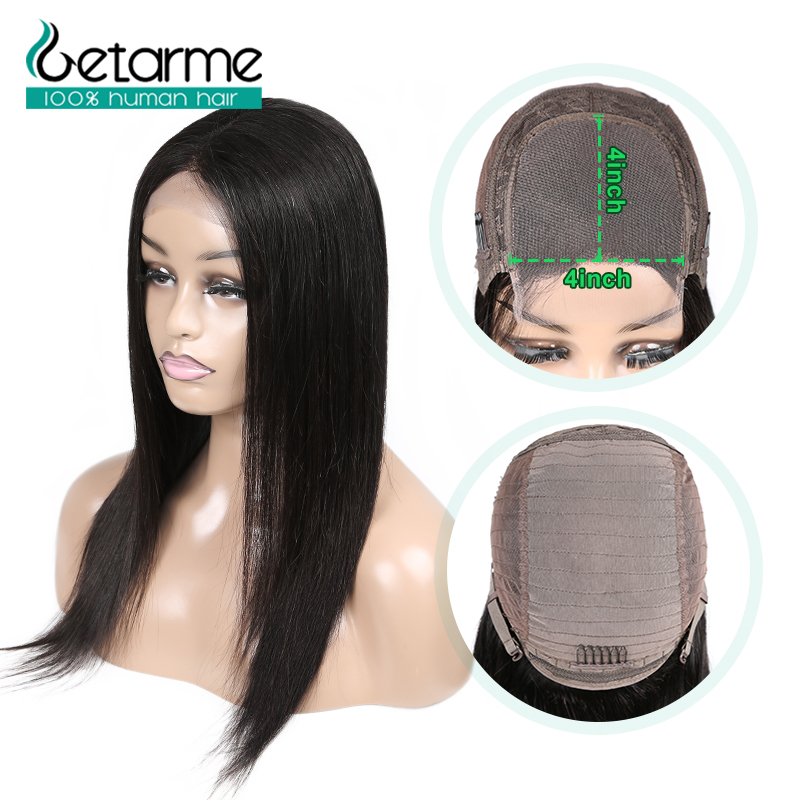 4x4 Closure Wig Straight Lace Closure Wig Pre Plucked With Baby Hair Non Remy Human Hair Brazilian Hair4x4 Closure Wig For Black