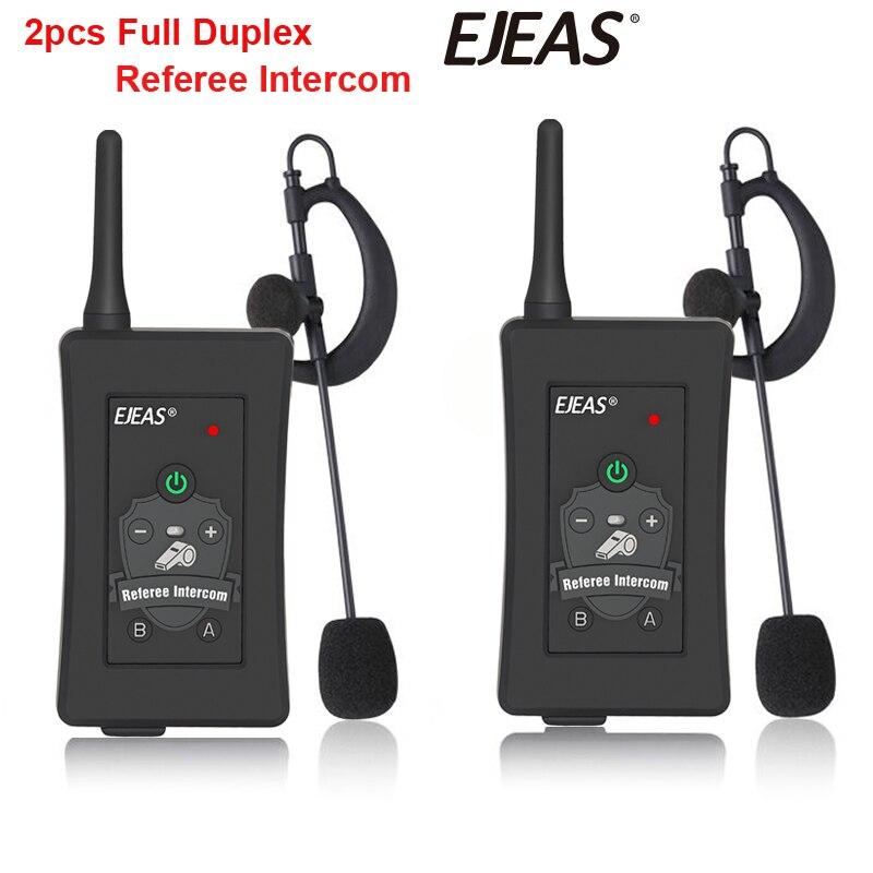 2pcs 2019 Latest EJEAS Brand Football Soccer Referee BT Intercom Motorcycle Intercom Full Duplex Bluetooth Referee Headset W/FM