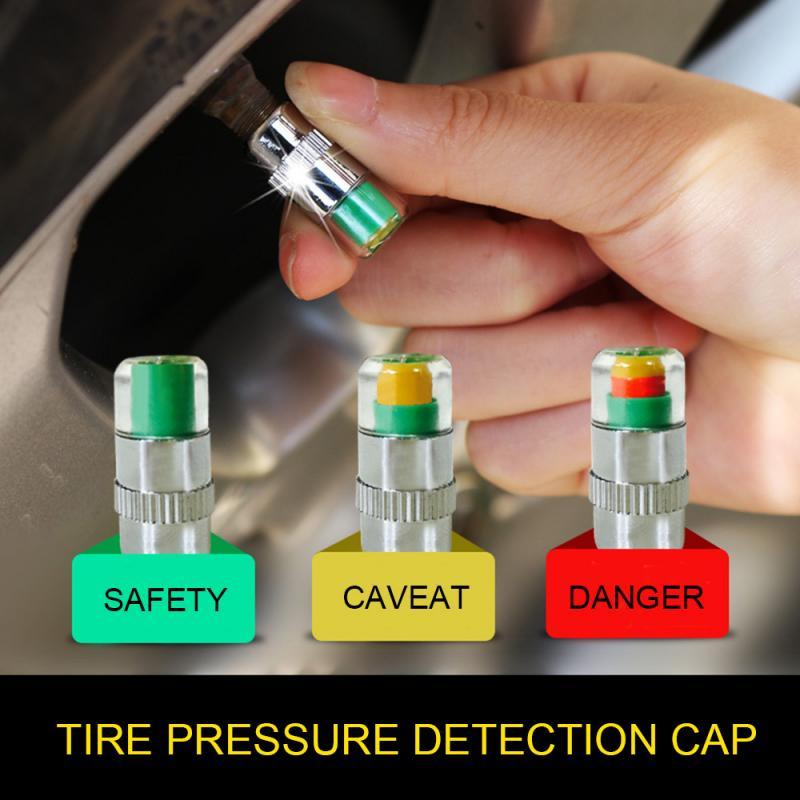 4 stücke Auto Auto Reifendruck Alarm Monitor Manometer Kappe TireGage Alarm Sensor Anzeige Ventil Kappen 2,4 Bar 30 PSI Universal