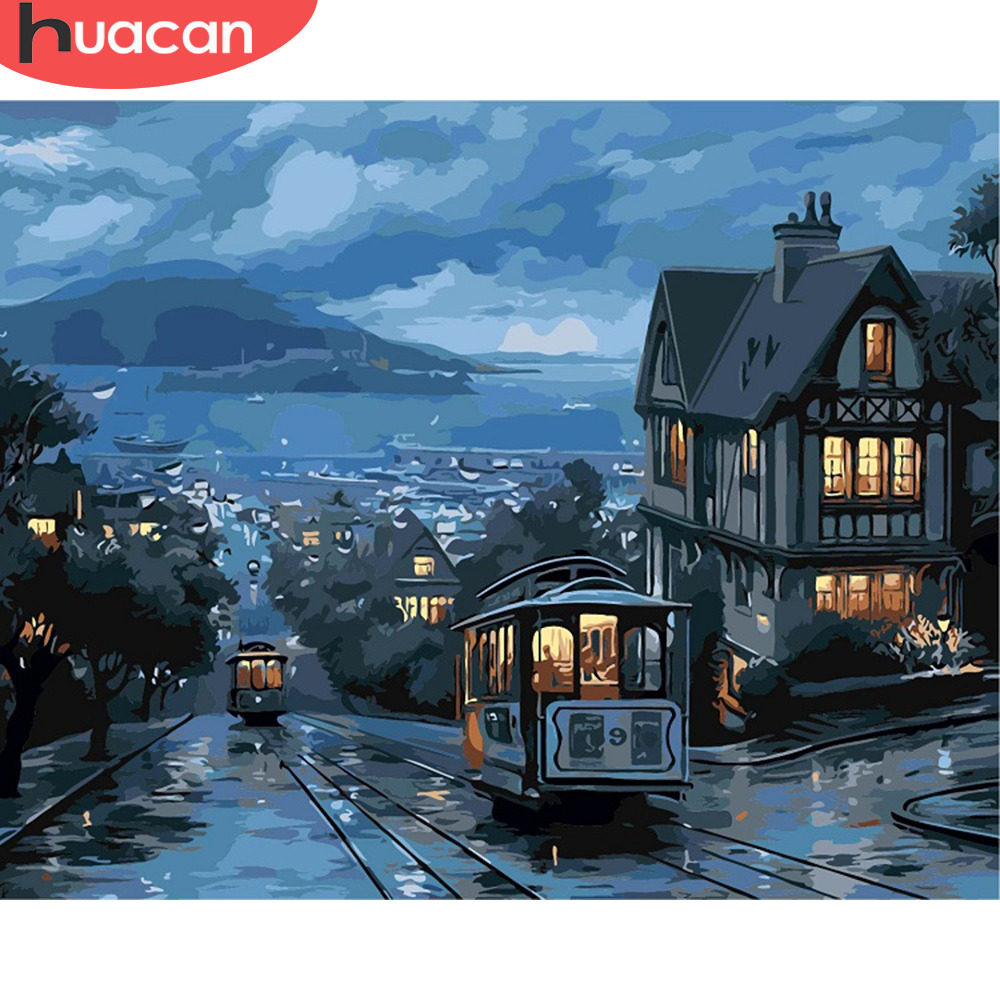 HUACAN Paint By Numbers Small Town Scenery Kits Drawing Canvas HandPainted Gift DIY Oil Painting Night Landscape Pictures