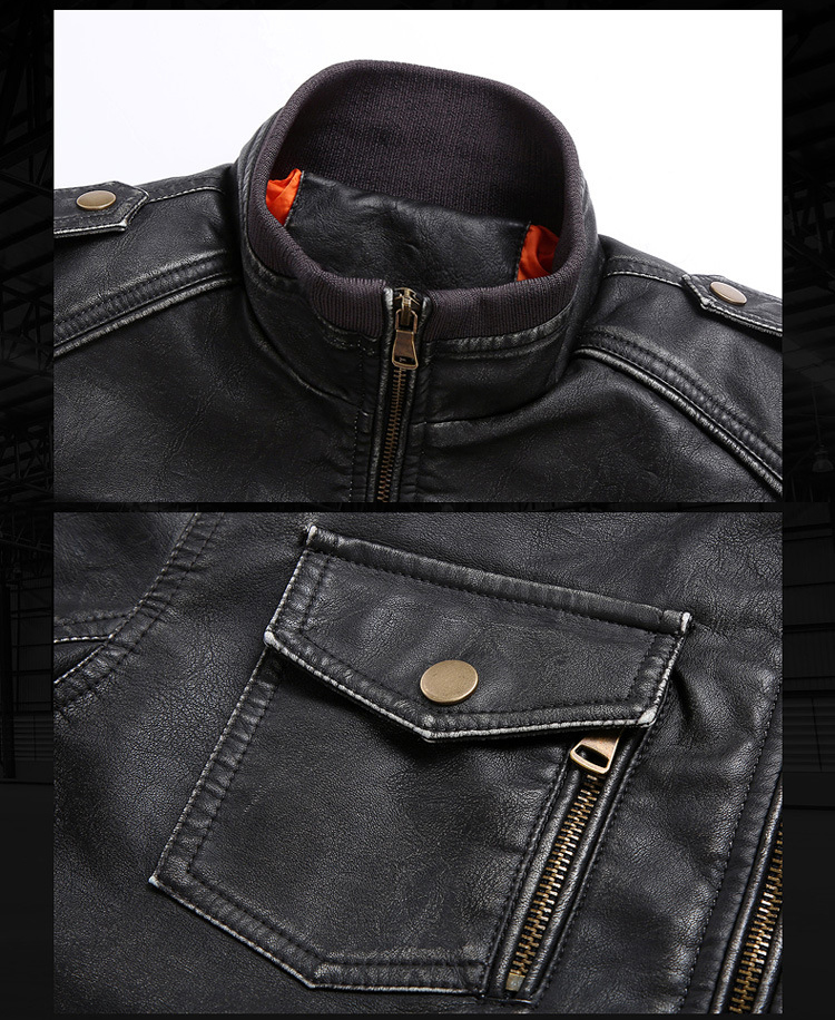 Men Genuine Leather Jackets Motorcycle Stand Collar Zipper Pocket Male Plus Size M-5XL Coats Biker Cow Leather Fashion Outerwear 6