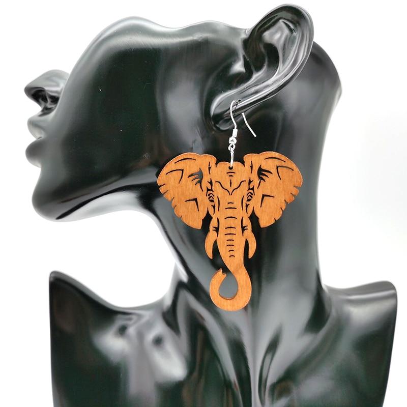 YD&YDBZ New Elephant Drop Earrings Wood Jewelry Women Pendant Big Earrings Africa Ethnic Style Accessories Wedding Earring Gifts