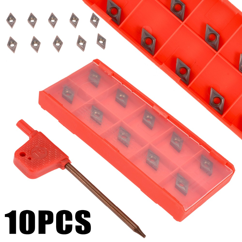 10pcs DCMT0702 YBC205 Carbide Blades Inserts for Lathe Turning Boring Tool Tools