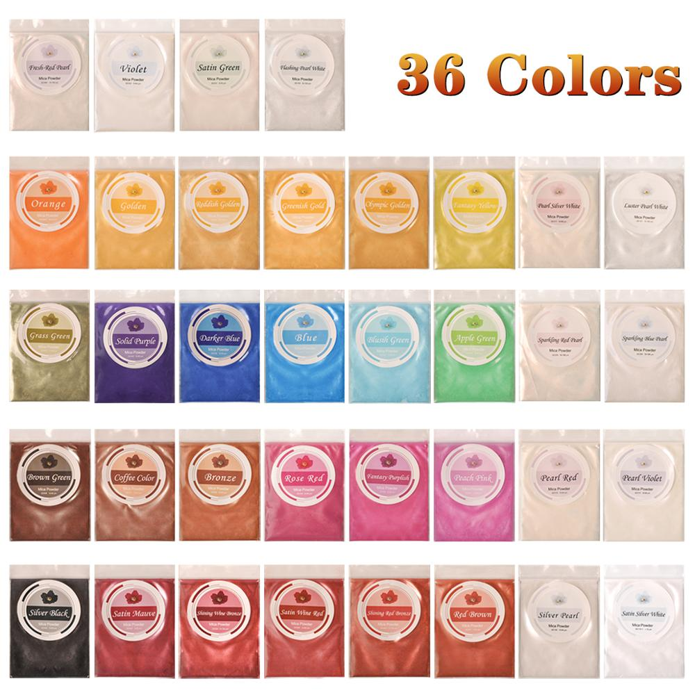 Mica Powder Dye Epoxy Resin 36 Powdered Pigments Set For Soap Bath Bombs Colorant Candle Making Kit For Slime Powder