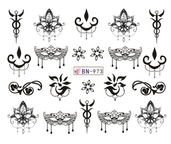 Bn973-984 New Style Nail Sticker Decoration Pattern Manicure Stickers Watercolor Flower Nail Sticker Have Adhesive Paper
