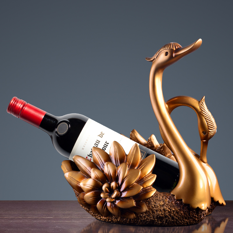 European Swan Wine Rack Vintage Resin Bottle Holder Dining Room Bar Wine Cabinets Display Shelf Wedding Home Storage Decoration