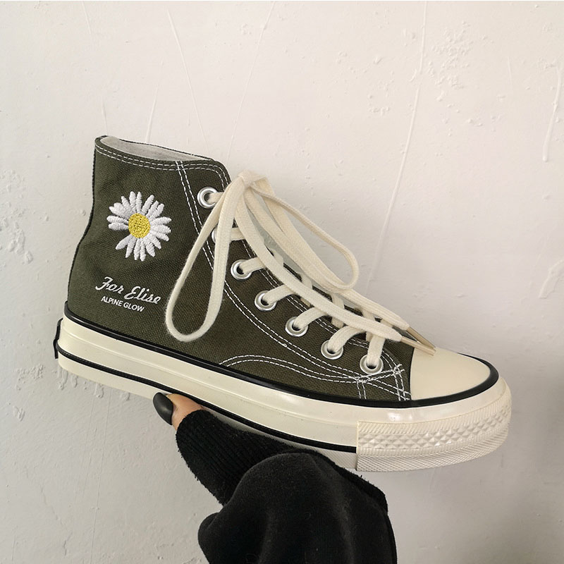 Summer Breathable Women's Vulcanized Shoes Small Daisy High Top Canvas Shoes 2020 New Classic Men And Women Couple Shoes