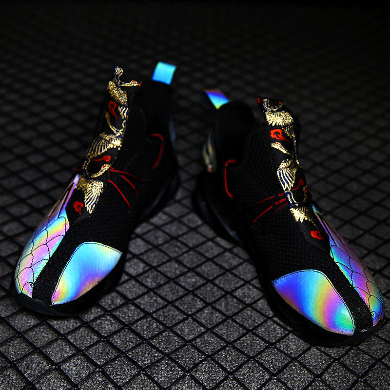 Luminous New Color Men's Sports Shoes Comfortable Breathable Flying Woven Men's Casual Shoes Cushioning Non-slip Running Shoes