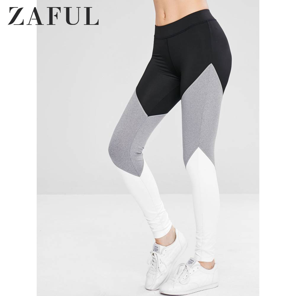 ZAFUL Color Block Gym Sports Leggings Athletic Mid Waist Workout Leggings Patchwork Exercise Stretchy Leggings Autumn 2019