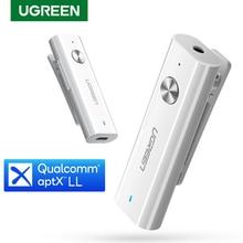 UGREEN Bluetooth 수신기 5.0 HiFi 무선 오디오 어댑터 지원 마이크 3.5mm AUX Bluetooth aptX LL 어댑터 (배터리 포함)
