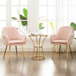 Silla de café Casual moderna de estilo nórdico, silla dorada de hierro forjado, silla de comedor, silla de salón de uñas, silla roja de maquillaje