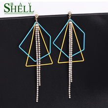 Korean fashion Dangle Rhinestone Long Drop Earrings For Women simple Irregular metal chain Tassel Crystal Jewelry brinco bijoux