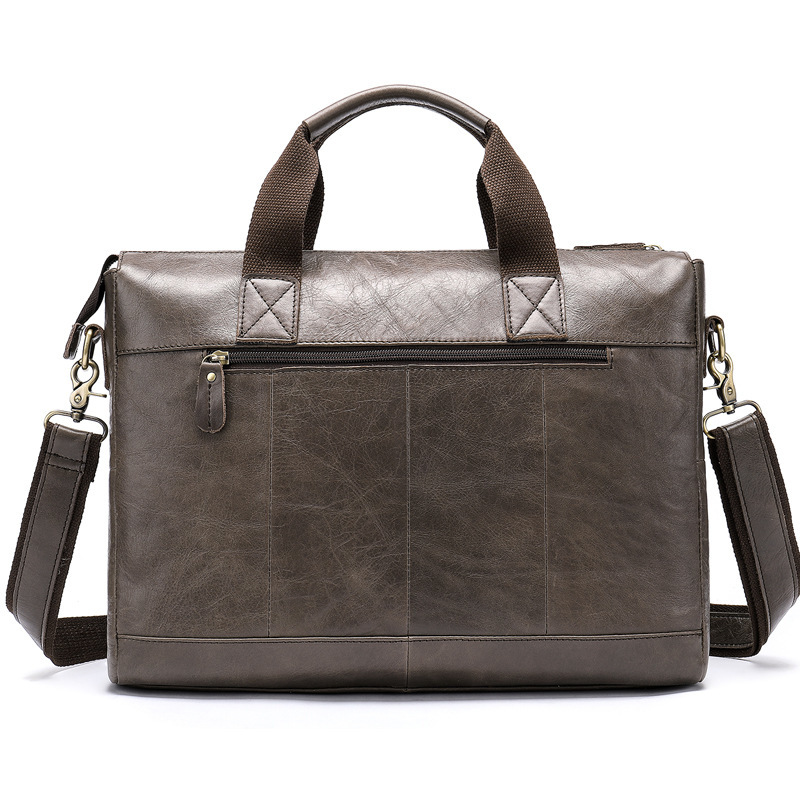 Head Layer Cowhide Business Affairs Computer Briefcase Cross Section Single Shoulder Package messenger bag office bags for men