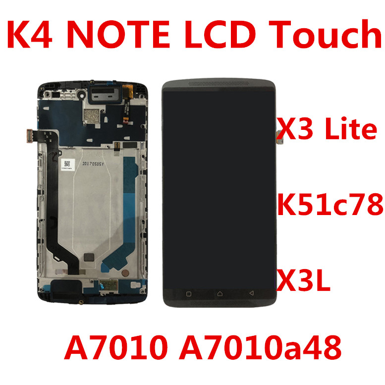 Black White For Lenovo K4 Note A7010 A7010a48 LCD Screen Display+Touch Panel Digitizer For Vibe X3 Lite K51c78 X3L Lcd Frame