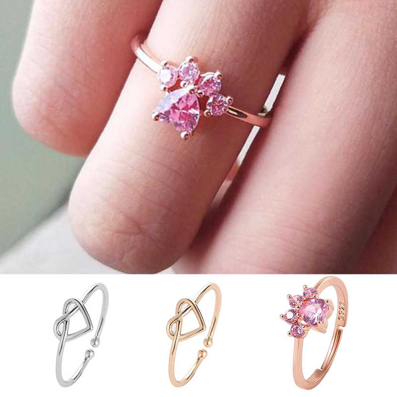 2019 New Rose Gold Cute Cartoon Women Ring Heart Shaped Adjustable Women Creative Finger Jewelry Wedding Rings Dropship
