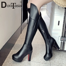 DORATASIA New Fashion Big Size 33-43 Ladies High Heels Platform Shoes Woman Party Office Autumn Winter Knee Boots Women