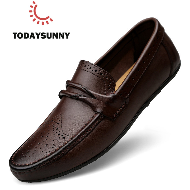 Men Loafers Shoes Genuine Leather Casual Sneakers Male Fashion Carved Boat Footwear Soft Dress Party Shoes Men Chaussure Homme title=