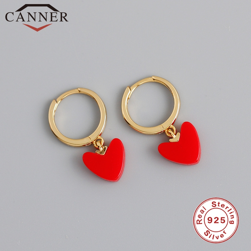 Charming 925 Sterling Silver Red Heart Small Hoop Earrings For Women Gold Color Earrings Fashion Jewelry Dropshipping